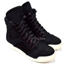 NWT $1,140 BALMAIN Paris Men's Black Suede Woven Zipper Sneakers 41 8 AUTHENTIC