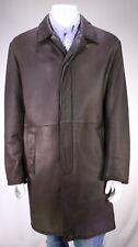 * LORO PIANA * Dark Brown Lambskin Leather Shearling Lining 3/4 Length Coat 42/L