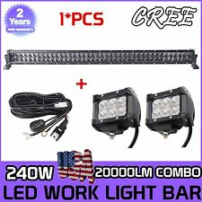"""42""""inch 240W CREE 4D LED Work Light Bar Combo Offroad 4WD+2X 18W Pods+Wiring Kit"""