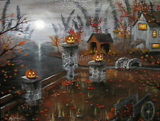 J A Blackwell art print SIGNED Halloween Fantasy Folk Ghost Fall Autumn Witch