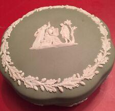 "Wedgw 00004000 ood Jasperware Green Round Covered Trinket Box 5"" Vintage"
