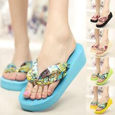 Fashion Women Girls BOHO Summer Flip Flops Beach Slippers Sandals Wedges Shoes