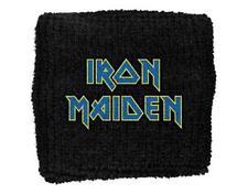 OFFICIAL LICENSED - IRON MAIDEN - BLUE LOGO SWEATBAND/WRISTBAND EDDIE
