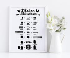 Kitchen Cooking Measurement Chart Vinyl Decal Sticker Frames Crafting Home Decor