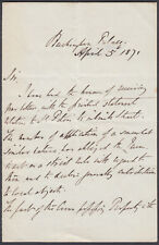 1871 Buckingham Palace Original Letter Signed Thoma M.Bidduph; signed;