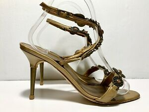 Manolo Blahnik Vintage Stiletto Sandals Size 36 US 6 Jewel Ankle Strap