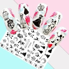 Nail Art Stickers Transfers 3D Self Adhesive Black Card Suits Crowns (XF3045)