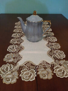 Cream with tan embroidered flowers table runner small 14 X 28 Pinklady cottage