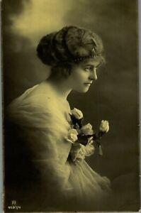Early 1900s German Woman Black And White Studio RPPC Photo Postcard Ephemera