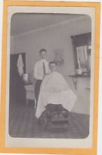 Real Photo Postcard RPPC - Barber with Customer in Chair - Barber Shop