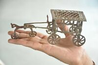 Old Brass Handcrafted Jali Cut Horse Carriage Toy , Rich Patina