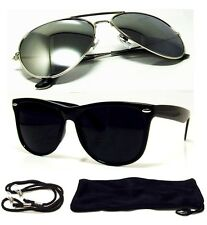 Retro Sunglasses Aviator Silver Mirror Lens And Dark Black Fashion Frame 2 PAIR