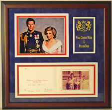 Princess Diana & Prince Charles Signed Framed Christmas Card Display JSA LOA