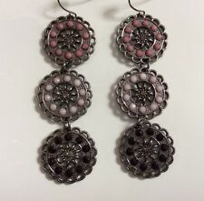 BRAND NEW PAIR OF HANGING PEWTER EARINGS WITH 3 DISC SHAPES & COLOURED STONES IN