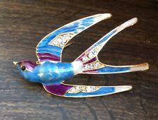 Pendant Brooch - Bird Brooch Enamel On Gold Plate Swallow