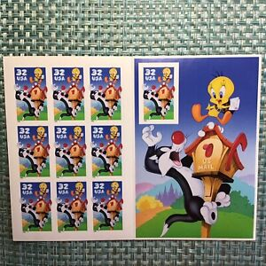 MINT FULL PANE 10 STAMPS LOONEY TUNES'98 TWEETY SILVEST