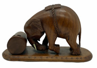 Elephant Wooden Hand Carved Figure Wood Animal Statue Ornament Decoration Model