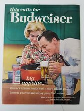 1963 Budweiser beer can glass mug big appetite supper ad