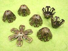 24 pc antique bronze large filigree flower bead caps-1656