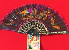 Unique 1950s Black Folding Hand Fan~ Colorful Embroidered Chinese Dragon ~Unused