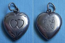 "Vintage etched hearts puffy heart ""C-D to MM"" sterling charm"
