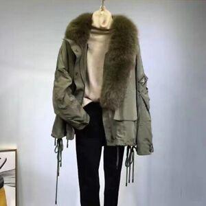 Women Fashion Fur Jackets Real Fur Collar Coats Winter Thick Warm Overcoat 37936