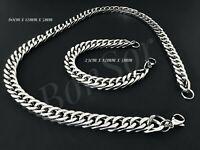 Herren Edelstahl Armband Kette Armkette Biker Panzer Zopfkette Silber massiv