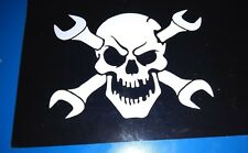 SKULL AND CROSS SPANNERS CAR GRAPHIC STICKER WHITE