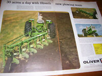 VINTAGE OLIVER CORP ADVERTISING  -1800 TRACTOR & TUBE FRAME PLOW -1961