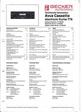 Becker Original Service Manual für Avus cassette electronic Kurier 778