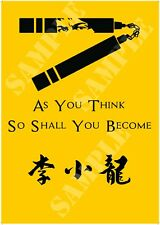 Cartel de Bruce Lee como crees por lo que se convertirá en Nunchucks Artes Marciales Karate