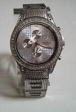 Men's big hip hop CZ Bling silver  finish metal bracelet fashion watch