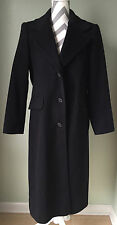 FORECASTER OF BOSTON Womens Black 100% Wool Trench Over Coat Size 9/10