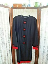 Vintage Akris navy blue red light wool dress rhinestone buttons S - M Classic