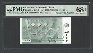 Lebanon 1000 Lira 2004(ND2006) P84a Raddar Serial Uncirculated  Grade 68