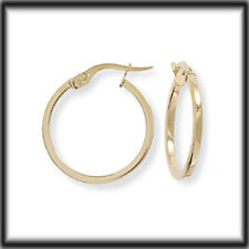 9ct Gold Square Tube Round Hoop Earrings 19mm x 21mm JER673B Jewellery Company