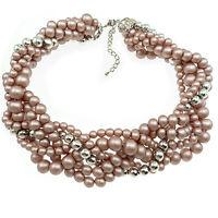 Collier Ras De Cou imposant soirée tresse perles mariage - vieux rose et argenté
