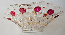 LARGE VINTAGE DEPRESSION GLASS BOWL WITH GOLD AND CRANBERRY BUTTONS
