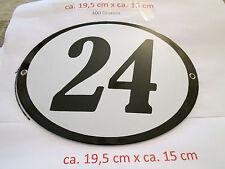 Hausnummer schwarze Nr. 24  weißer Hintergrund 19 cm x 15 cm Oval Emaille