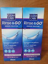 2 Alcon Clear Care Rinse & Go Rinsing Solution *NEW* @12 fl oz