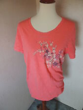 Lucy Activewear Tee Shirt Women's Pink Peach Cotton Graphic Floral Large Top