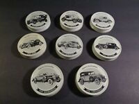 Set Of 8 Mason Jar Lids Famous Antique Cars Automobiles Rolls Royce *See List D6