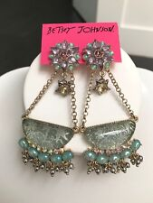 NWT Rare large Betsey Johnson Star Gazer sea Blue purple Stars Dangle Earrings