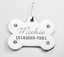 PERSONALIZED SILVER BONE PET COLLAR TAG WITH CZ RHINESTONES CUSTOM ENGRAVED DOGS
