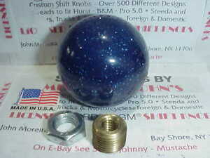 "2"" Blue Glitter 1960's - 70's Retro Shift Knob , Peterbilt, Kenworth, Mack"