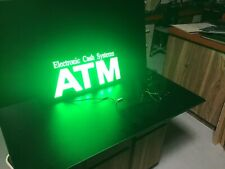 Vintage Bright Green Lighted ATM Sign Hanging Sign Electronic Cash Systems