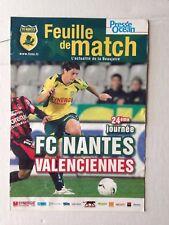 FEUILLE DE MATCH // FC NANTES - VALENCIENNES 10 FEVRIER 2007