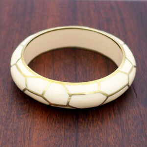Giraffe Ivory-Colored Resin Bangle by Sean Hill, large size