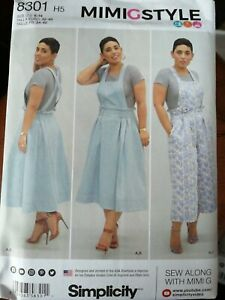 Simplicity SEWING PATTERN 8301 size 6-14 MimiGStyle top pinifore dungarees