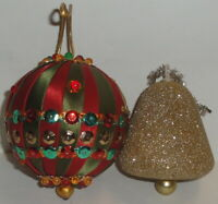 1960 2 VINTAGE STYROFOAM CHRISTMAS ORNAMENTS LOT Satin Beads Bell Sequins craft